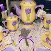 Lavender dishes on display in our shop1