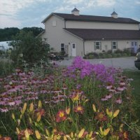 Our Barn & Gardens at dusk